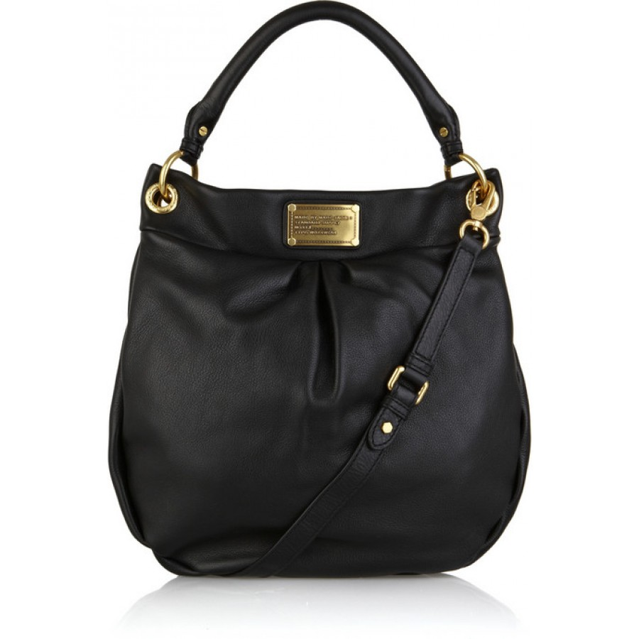 $500 Marc by Marc Jacobs Black Gold Leather Hobo Hillier Shoulder ...