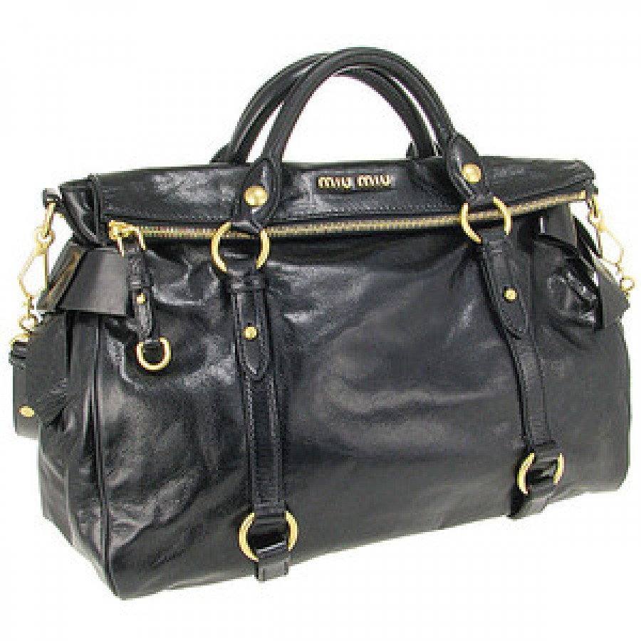 5ba19159201b  1500 Miu Miu Vitello Large Black Leather Gold Hardware Bow Bag ...
