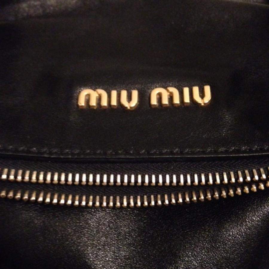 3eb185d0524  1500 Miu Miu Vitello Large Black Leather Gold Hardware Bow Bag ...