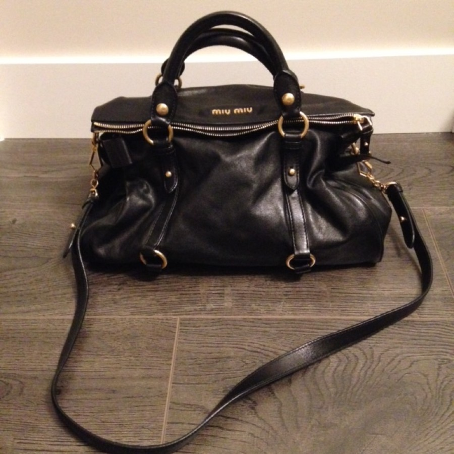 1500 Miu Miu Vitello Large Black Leather Gold Hardware Bow Bag ... 77abda8a302e5