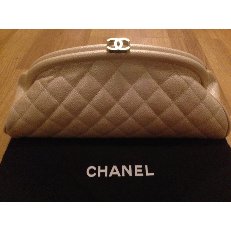 $2800 Chanel Classic Iridescent Pearl Beige Nude Quilted Caviar ... : chanel quilted clutch bag - Adamdwight.com