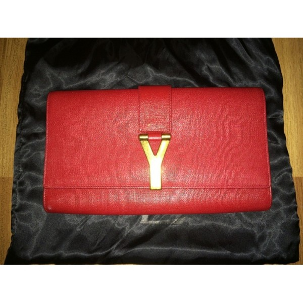 516c0b2a581 $1000 YSL Yves Saint Laurent Classic Y Chyc Red Textured Leather Large  Envelope Clutch