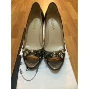 Prada Crystal Taffeta Jewel Bling Peeptoe Pewter Pumps Lust4Labels 4-900x900