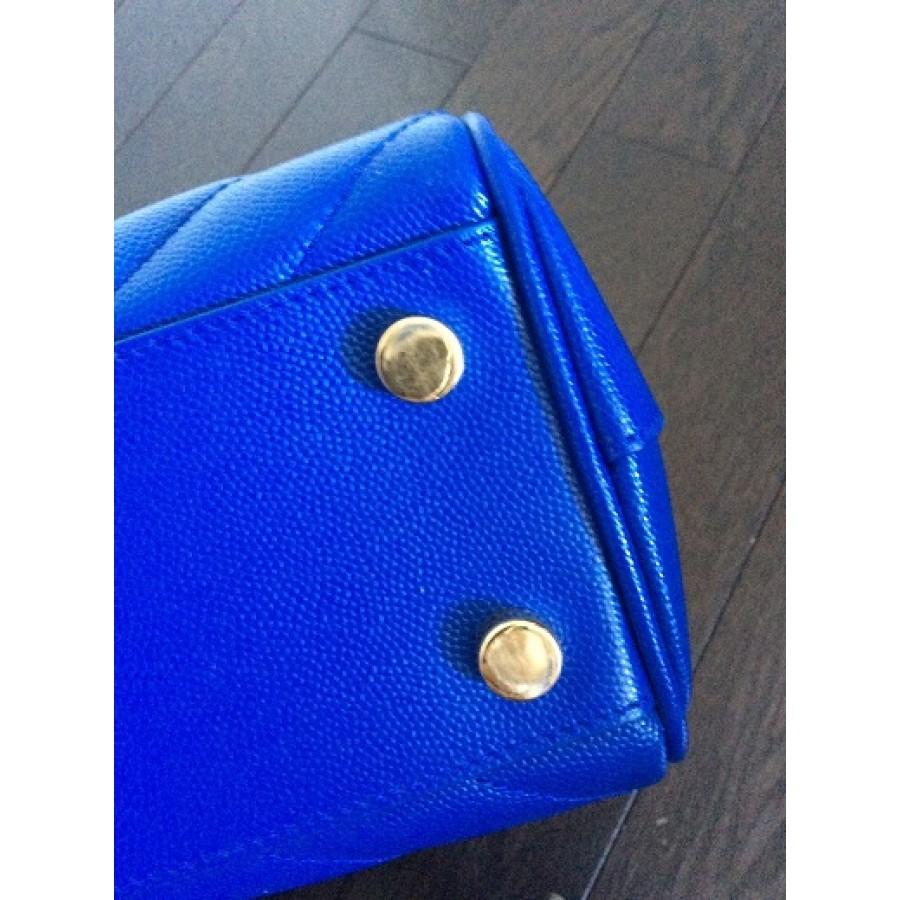 3e4c9693677 YSL Yves Saint Laurent Paris Classic Cassandre Large Monogram Chevron  Satchel in Royal Blue Pebbled Mattelase