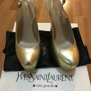 YSL Yves Saint Laurent Tribtoo Tribute 105 Sling Gold Napa Leather Pumps SZ 35 5 Lust4Labels