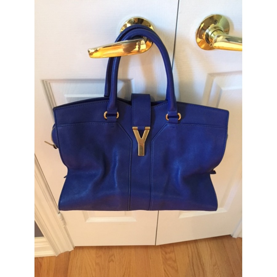 dcdb29f9029c YSL Yves Saint Laurent Y Cabas Chyc Ligne Royal Cobalt Blue Shoulder Bag  Purse Tote Lust4Labels