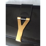 YSL Yves Saint Laurent Y Chyc Grey Patent Leather Clutch Lust4Labels 3-900x900