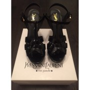 Yves Saint Laurent YSL Tribute Classic Black Patent Leather Sandals Heels Lust4Labels-900x900