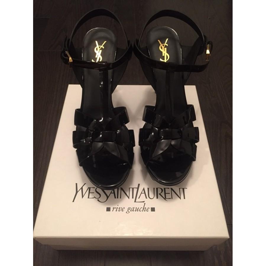 ebed476d258c Yves Saint Laurent YSL Tribute Classic Black Patent Leather Sandals Heels  Lust4Labels-900x900