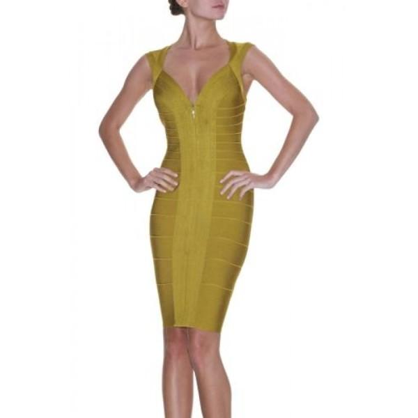 beautiful-olive-yellow-front-zip-herve-leger-dress-s-560-900x900