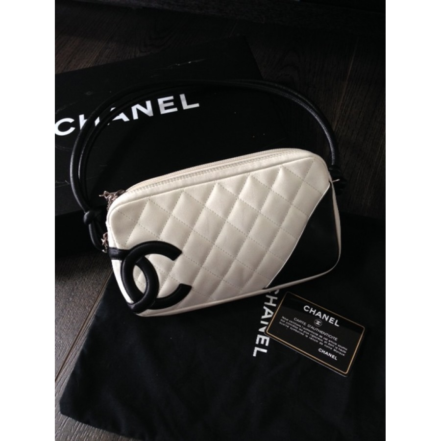 860bc17d97df4d $1000 Chanel White Black Cambon Ligne Lambskin Leather CC Logo ...
