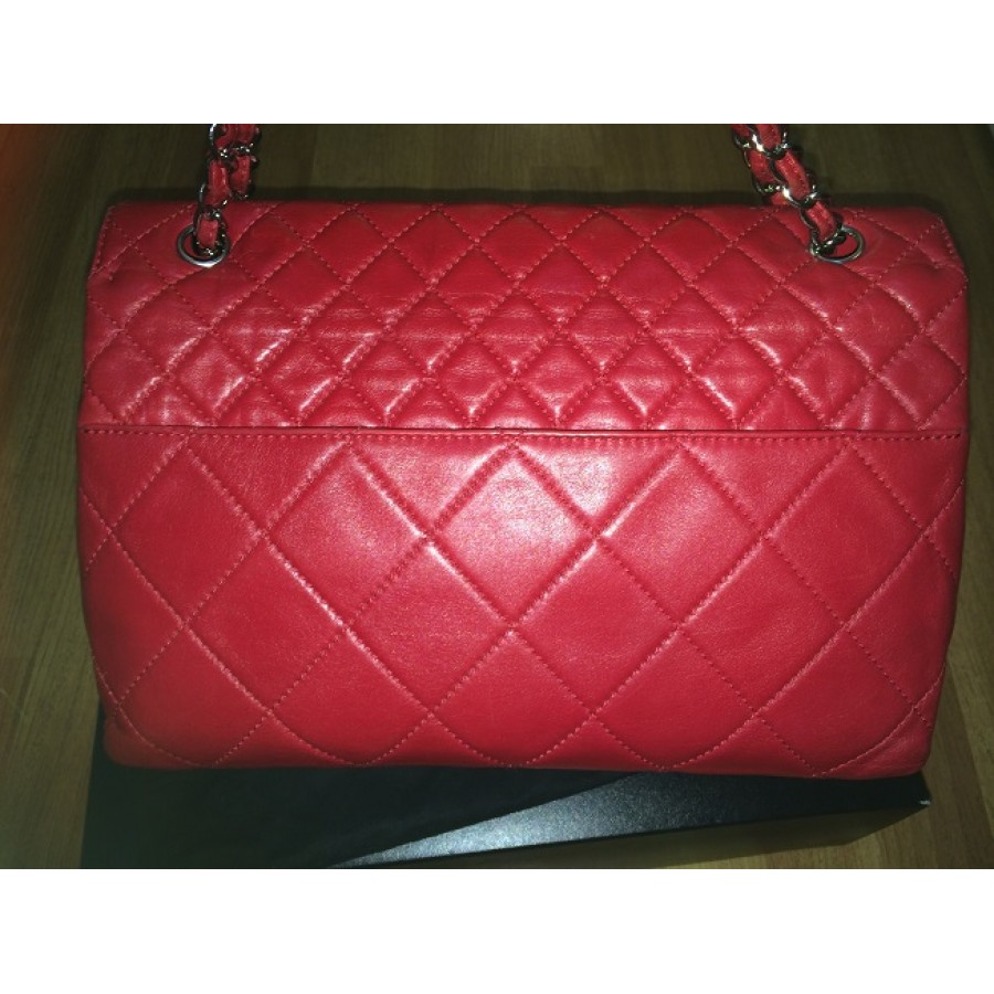 60c4bdfc31eb5b $3300 Chanel Classic In the Business Maxi Jumbo Flap in Red Calfksin ...