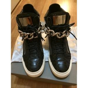 giuseppe zanotti black silver chain croc embossed sneakers-900x900