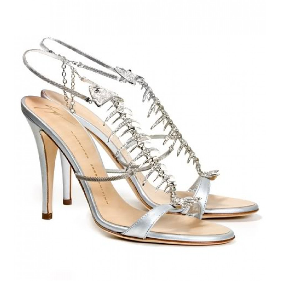 330788ee588f6 $1100 Giuseppe Zanotti Silver Crystal Encrusted Fish Bone Sandals ...