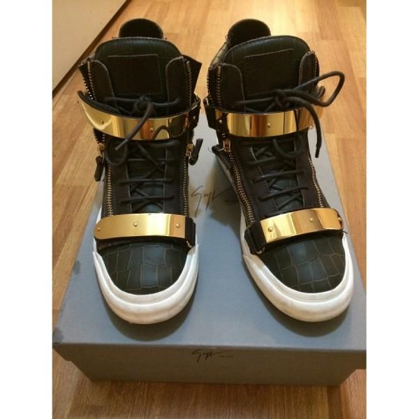 giuseppe zanotti green gold ringo croc embossed sneakers-900x900