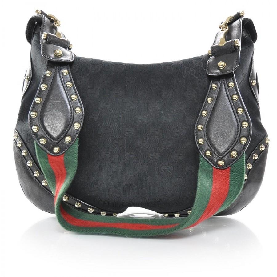 1500 gucci pelham black borsa red green strap studded hobo messenger shoulder bag purse. Black Bedroom Furniture Sets. Home Design Ideas