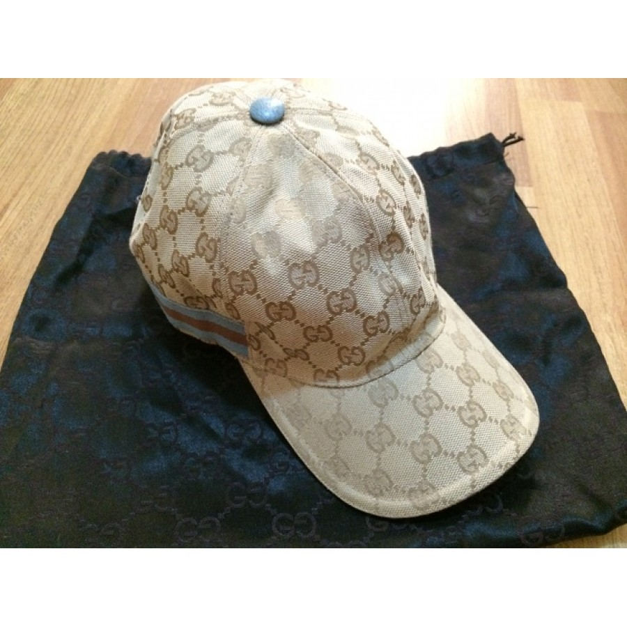 300 Gucci Monogram Classic Logo Canvas Stripe Baseball Cap Hat ... dac008c8f35