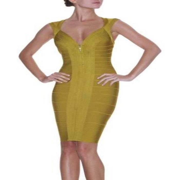 a78256ca5f20  1400 Herve Leger Toxic Green Mustard Olive Front Zip Bandage Dress ...