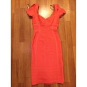 herve leger open shoulder pia coral dress-900x900
