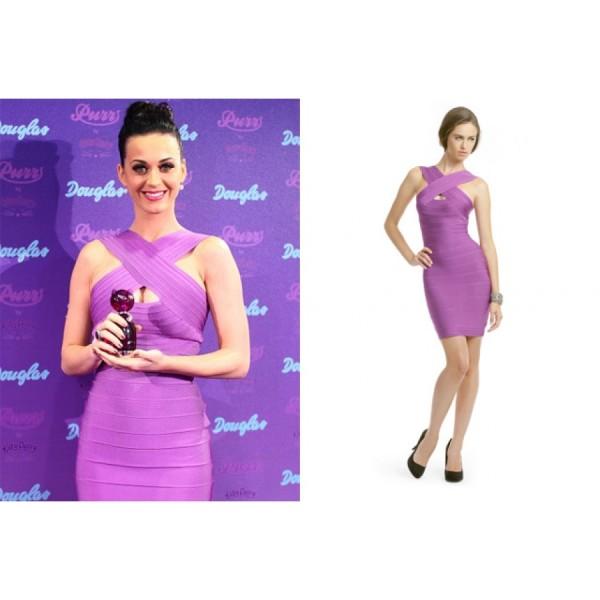herve leger purple  keyhole cut out halter dress katy perry -900x900