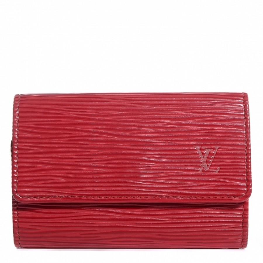 b665d1c3 $300 Louis Vuitton LV Logo Red Epi Textured Leather 6 Key Holder ...