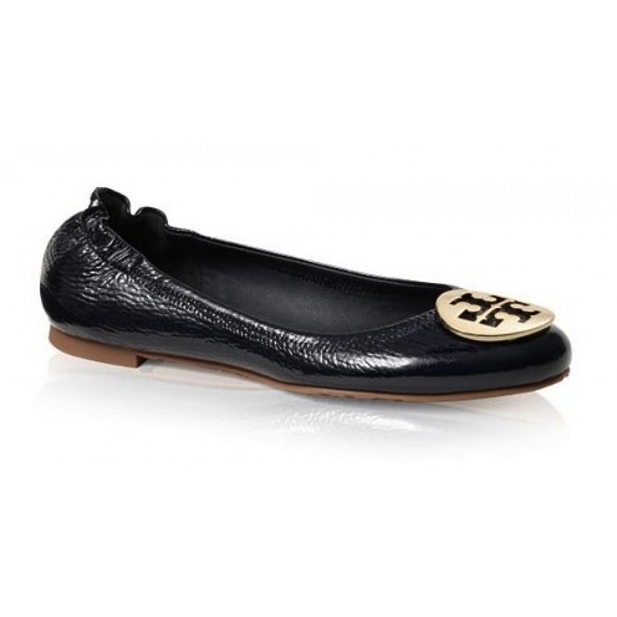 5a6a09998  260 Tory Burch Classic Black Patent Gold Reva Ballet Flats SZ 35 5 ...