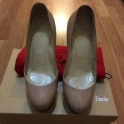 Christian Louboutin Nude Patent Leather Bianca 120mm Pumps Lust4Labels  2