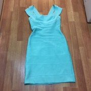 Herve Leger Double Strap Seafoam Green Blue Bandage Dress XS Lust4Labels 1