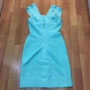 Herve Leger Double Strap Seafoam Green Blue Bandage Dress XS Lust4Labels 3