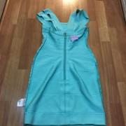 Herve Leger Double Strap Seafoam Green Blue Bandage Dress XS Lust4Labels 5