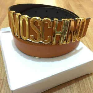 Moschino Classic Logo Signature Orange Leather Belt Lust4Labels  2