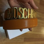 Moschino Classic Logo Signature Orange Leather Belt Lust4Labels  3