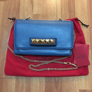 Valentino Va Va Voom China Blue Peacock Lamb Leather Shoulder Bag Chain Purse Lust4Labels 1