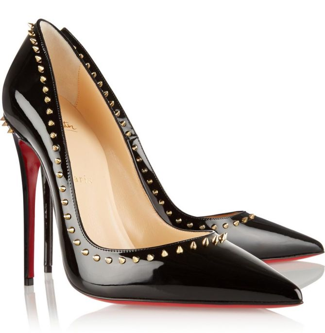 4cff74c515a $900 Christian Louboutin Black Patent Anjalina Gold Spike 100mm ...