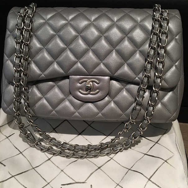 8c1f625622a9 Chanel Classic Silver Matte Metallic Lambskin Quilted Jumbo Bag Purse  Lust4Labels 2