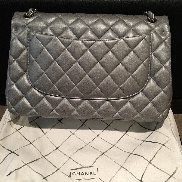 4b1cc9f29bde Chanel Classic Silver Matte Metallic Lambskin Quilted Jumbo Bag Purse  Lust4Labels 2 lightbox · lightbox · lightbox · lightbox
