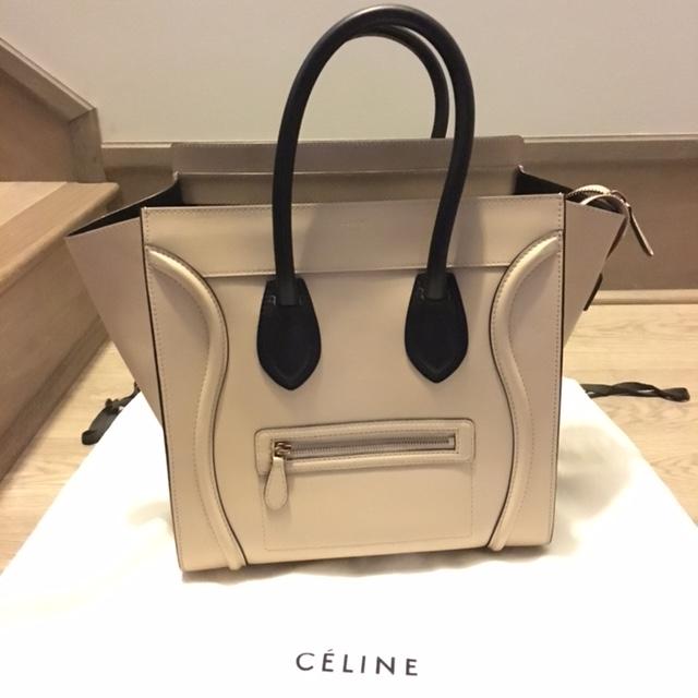 ea8b7f35b1  4000 Celine Paris Smooth Beige Nude Leather Mini Luggage Bag Tote ...