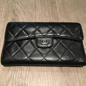 Chanel Classic CC Logo Black Lambskin Leather Quilted Continental Wallet Lust4Labels 1