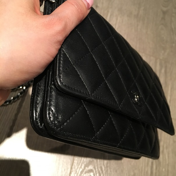 $2500 Chanel Classic CC Logo Black Lambskin Quilted Leather WOC ... : chanel woc classic quilted bag - Adamdwight.com