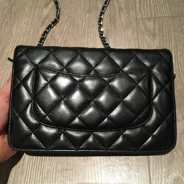 9489d5ea6d Chanel Classic Wallet On Chain Black Quilted Lambskin Leather Bag ...