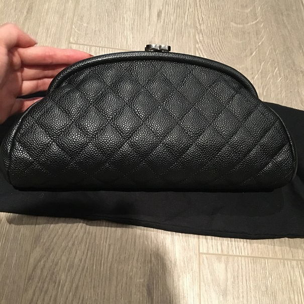 6359c712ef1b9e $2800 Chanel Classic CC Logo Black Caviar Quilted Leather Timeless ...