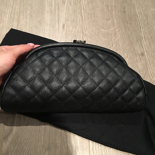 42aa6b794a3c $2800 Chanel Classic CC Logo Black Caviar Quilted Leather Timeless ...