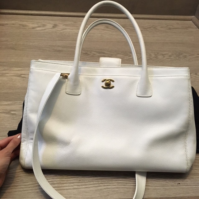 58b960a09230  3500 Chanel Classic Cerf White Caviar Leather Executive Tote Bag ...