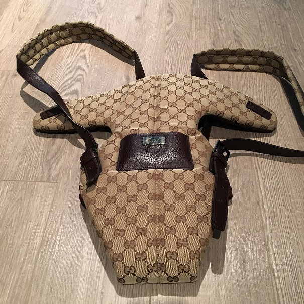 12bfe01377f  900 Gucci Monogram Canvas Logo Leather Baby Carrier - Lust4Labels