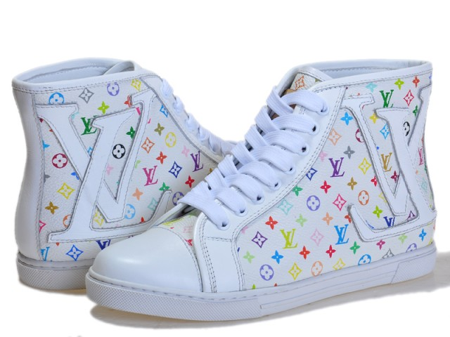 5857f76bc67 $700 Louis Vuitton LV White Leather Multicolor Hightop Sneakers SZ ...