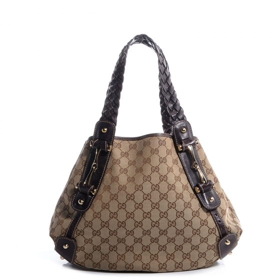 bad197b36f5  1200 Gucci Monogram Canvas GG Logo Brown Braided Medium Pelham ...