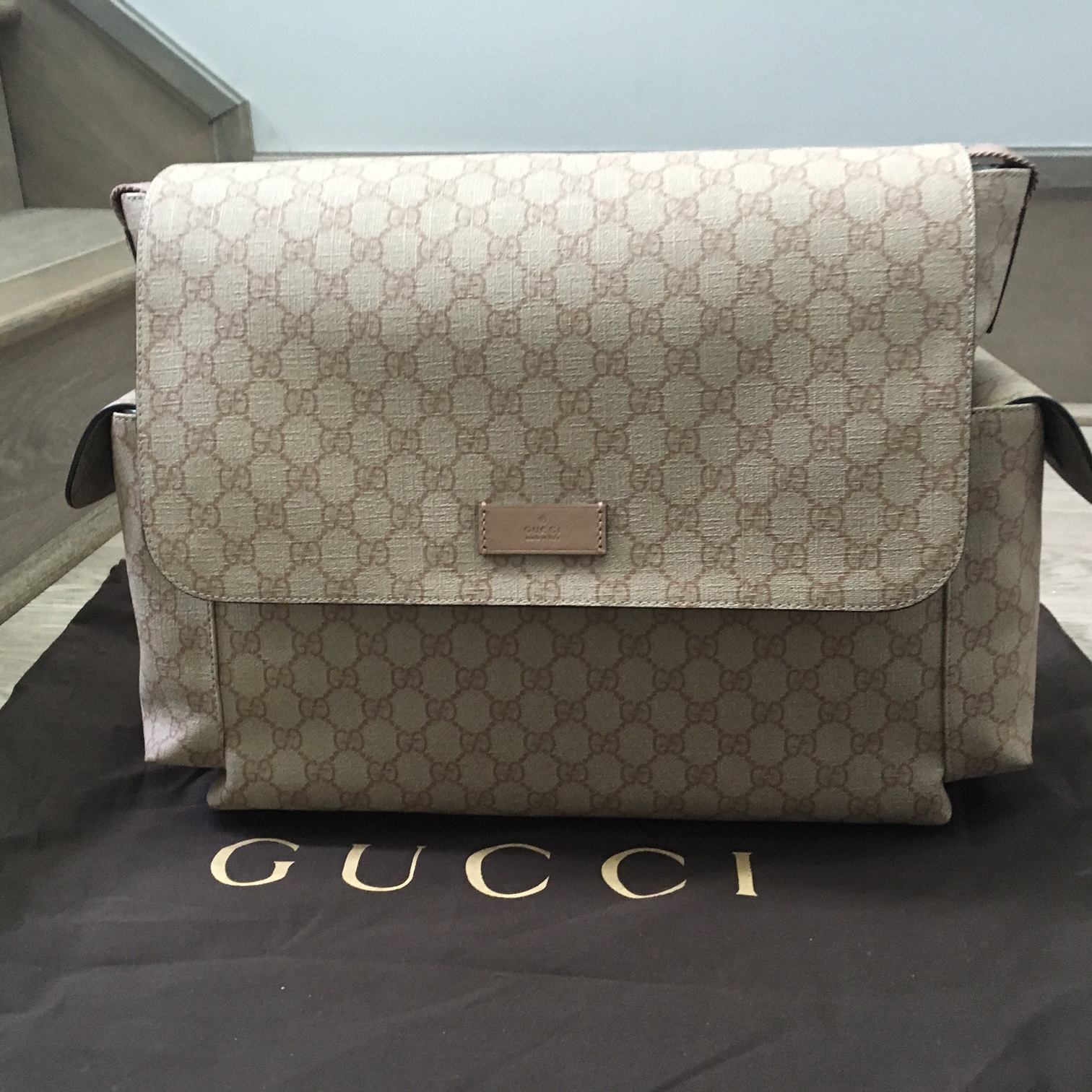 08dbf4a54d4 Gucci Monogram Canvas GG Plus Beige Pink Logo Large Baby Diaper Bag Purse  Lust4Labels 1