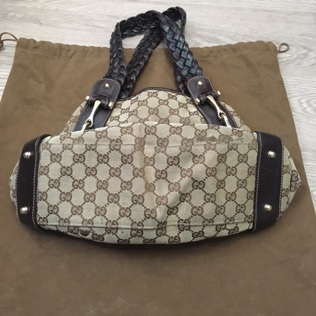 4481211f2579 $1200 Gucci Monogram Canvas GG Logo Brown Braided Medium Pelham ...