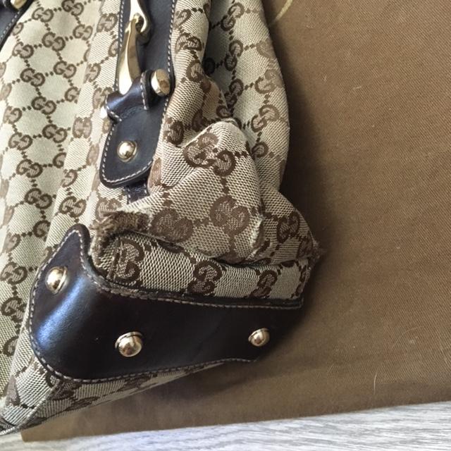 2c86e364f198 $1200 Gucci Monogram Canvas GG Logo Brown Braided Medium Pelham ...