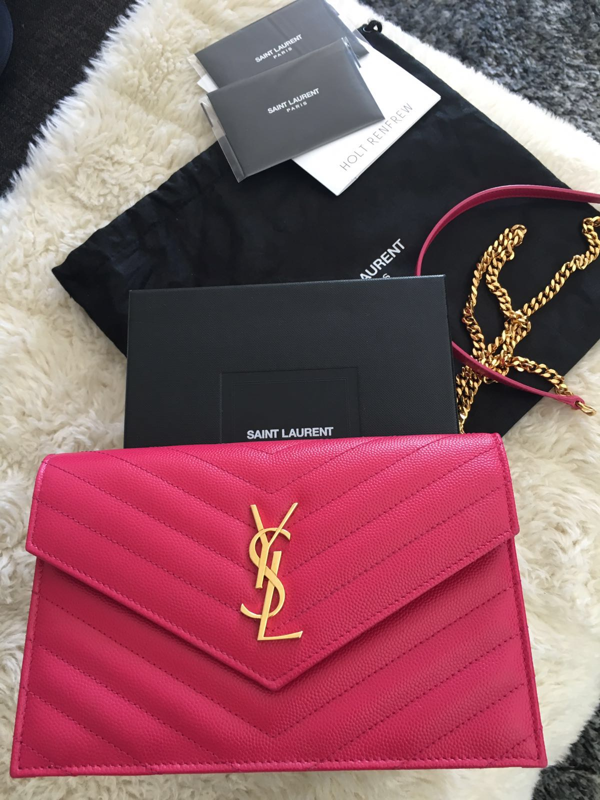 6cd6732a $1500 Yves Saint Laurent Paris Pink Leather Chevron Wallet on Chain ...